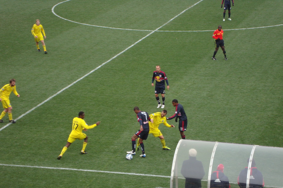 Live action from a soccer game at Crew Stadium - yellow versus blue
