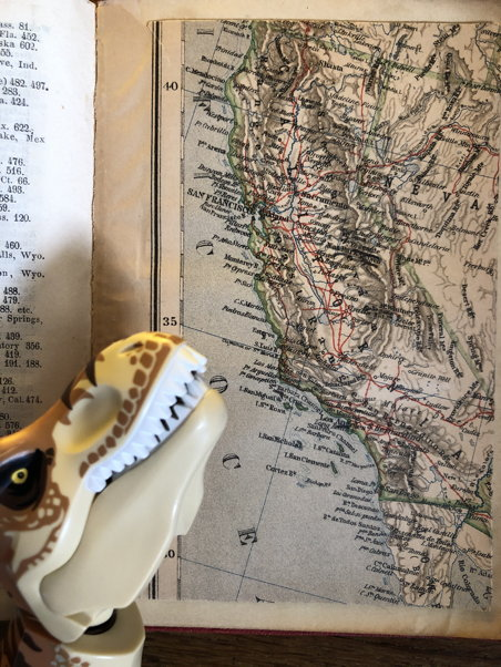 A dinosaur looks at a map of California