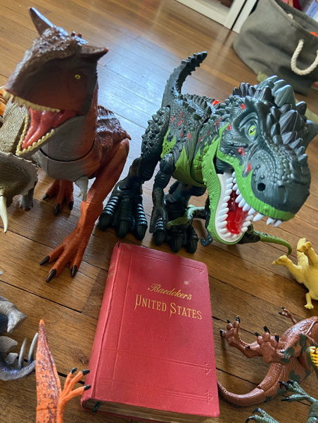 A dark green T-Rex guards his copy of the book